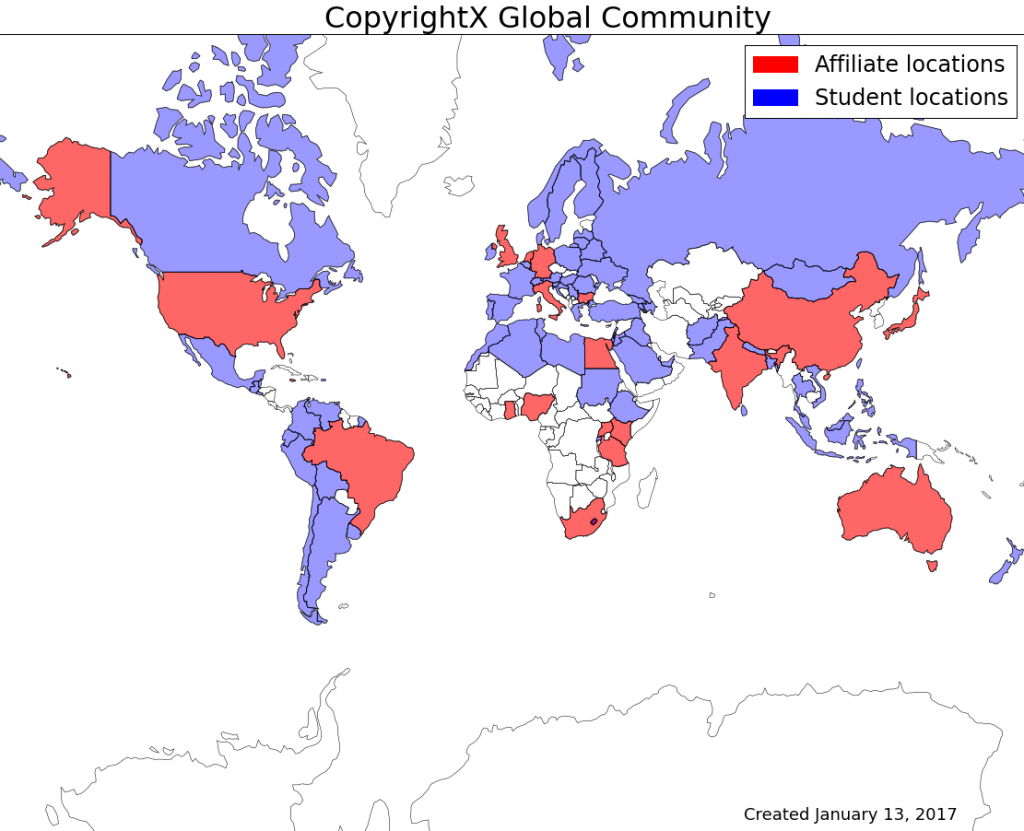 CopyrightX Student and Affiliate Locations